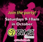 Saturday morning Zumba classes at Studio Gracia in October!