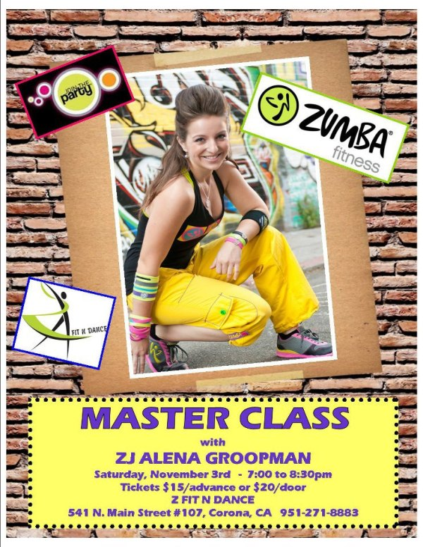 Zumba Fitness Master Class on November 3rd in Corona!