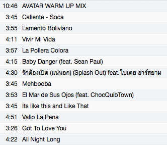 Wednesday Night Zumba Fitness Class - Track List